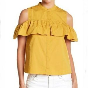 LUCKY BRAND Off Shoulders Mustard Button Blouse
